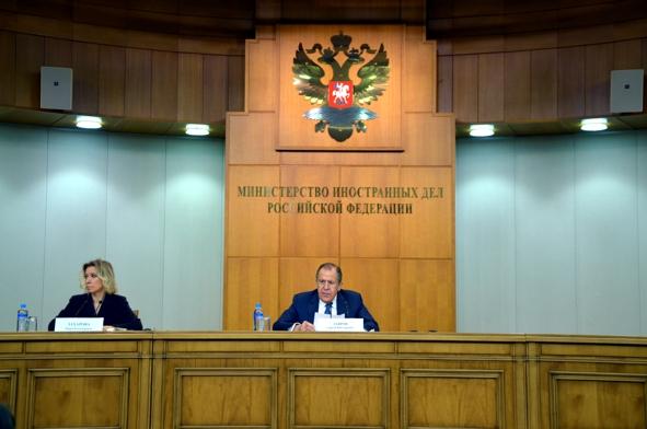 Министр иностранных дел России Сергей Лавров провел традиционную большую пресс-конференцию по итогам 2015 года. Фото: OneKorea.RU