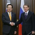 Встреча Сергея Нарышкина с Председателем Национального собрания Республики Корея Чон Ый Хва