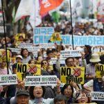 В Сеуле прошли демонстрации в связи с визитом Трампа